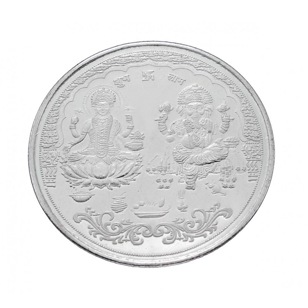 10 gm XL size Laxmi & Ganesha Silver Coin