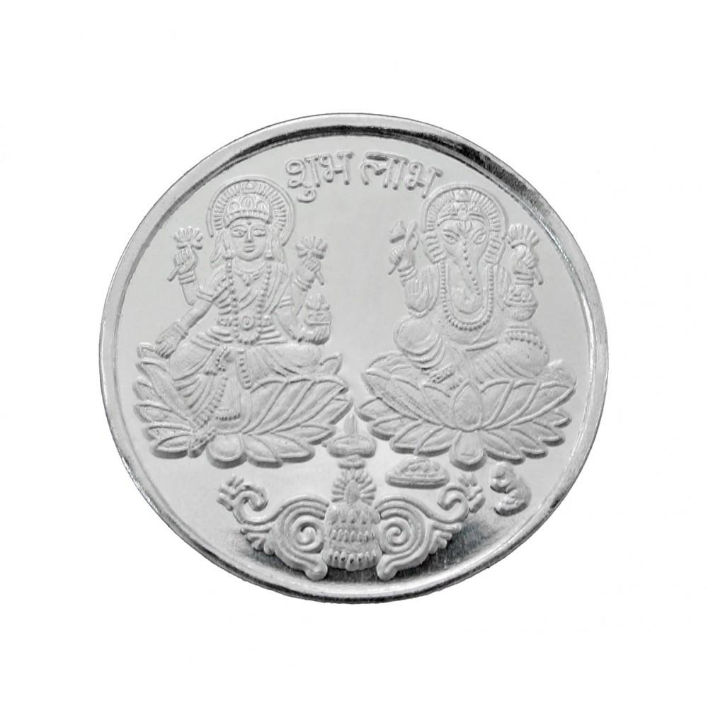 5 gm XL size Laxmi & Ganesha Silver Coin