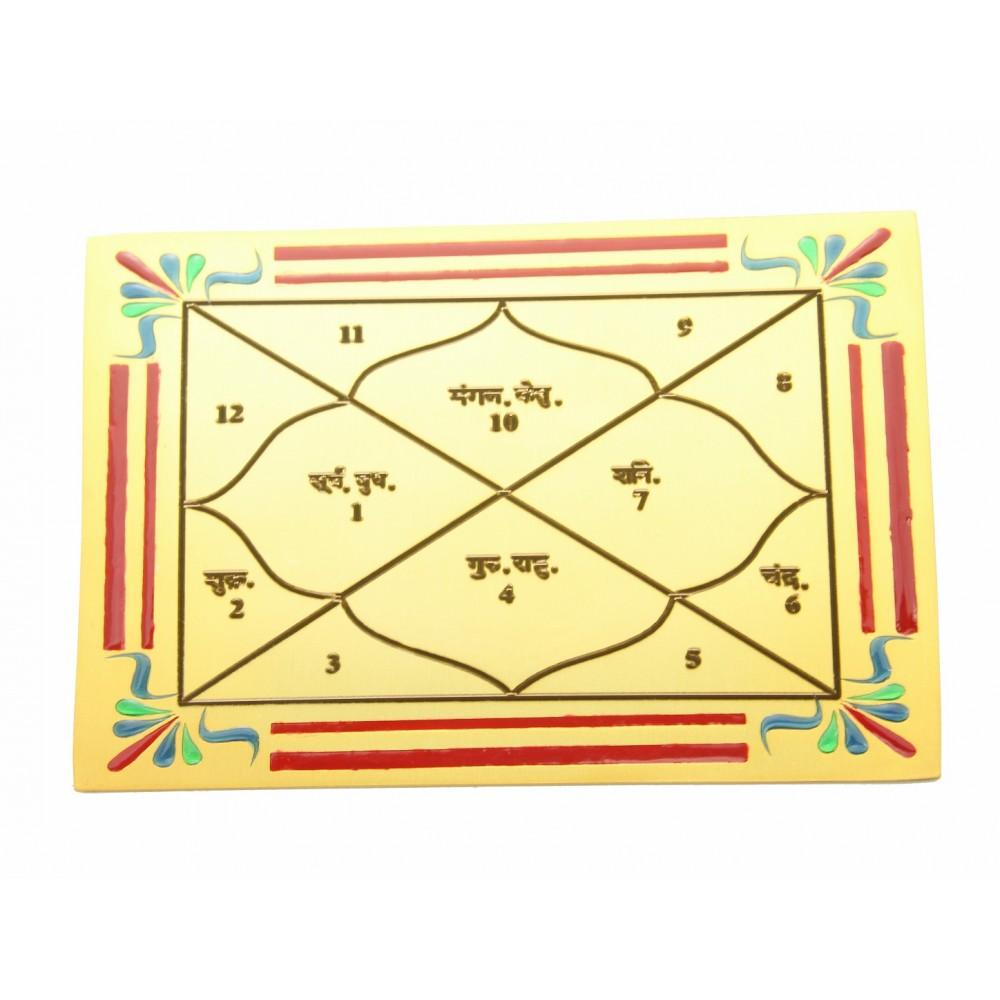 Gold Plated Mahaveer ji Religious Kundali (Copper)