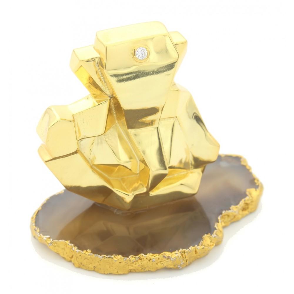 925 Sterling Silver Geometric Ganesha Idol/Murti in Glossy gold polish (40 Gram)