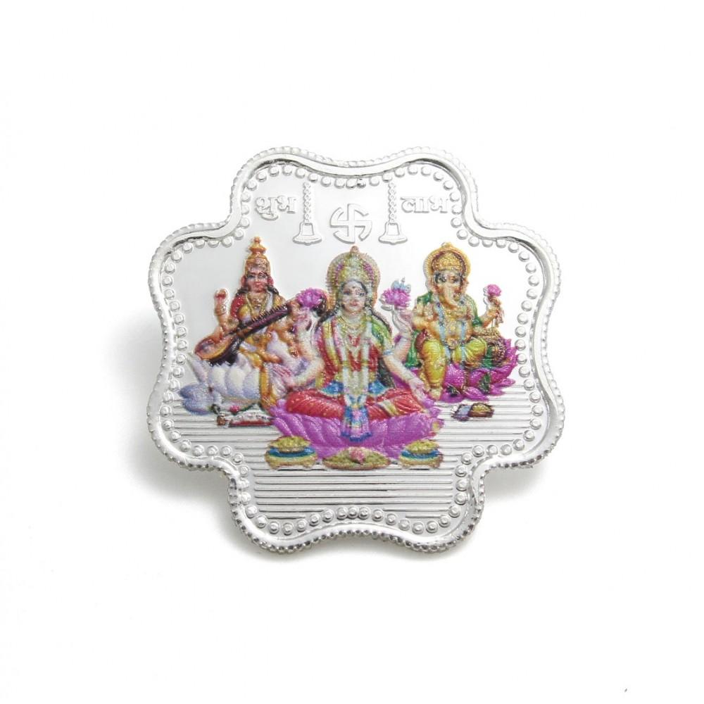 Floral Coloured   Laxmi, Ganesha & Saraswati Ji Silver Coin