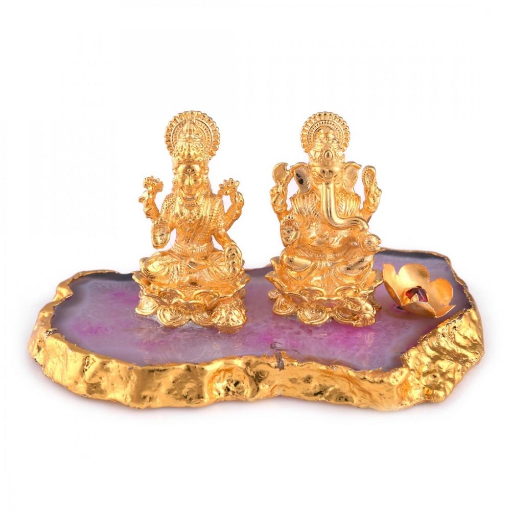 40.12 Gram Religious Gold Plated Laxmi & Ganesha Idol/Murti