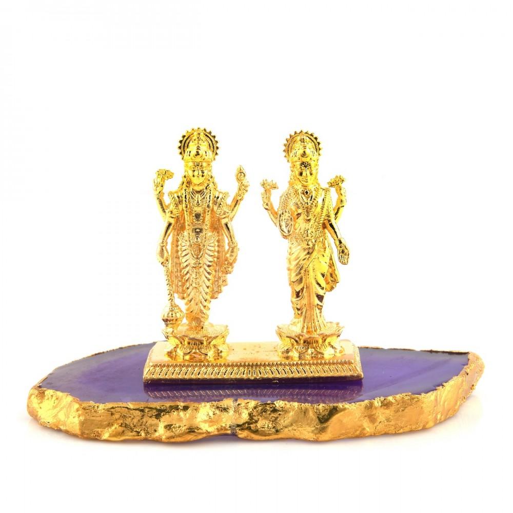 Gold Lord Satyanarayan & Laxmi ji Idol
