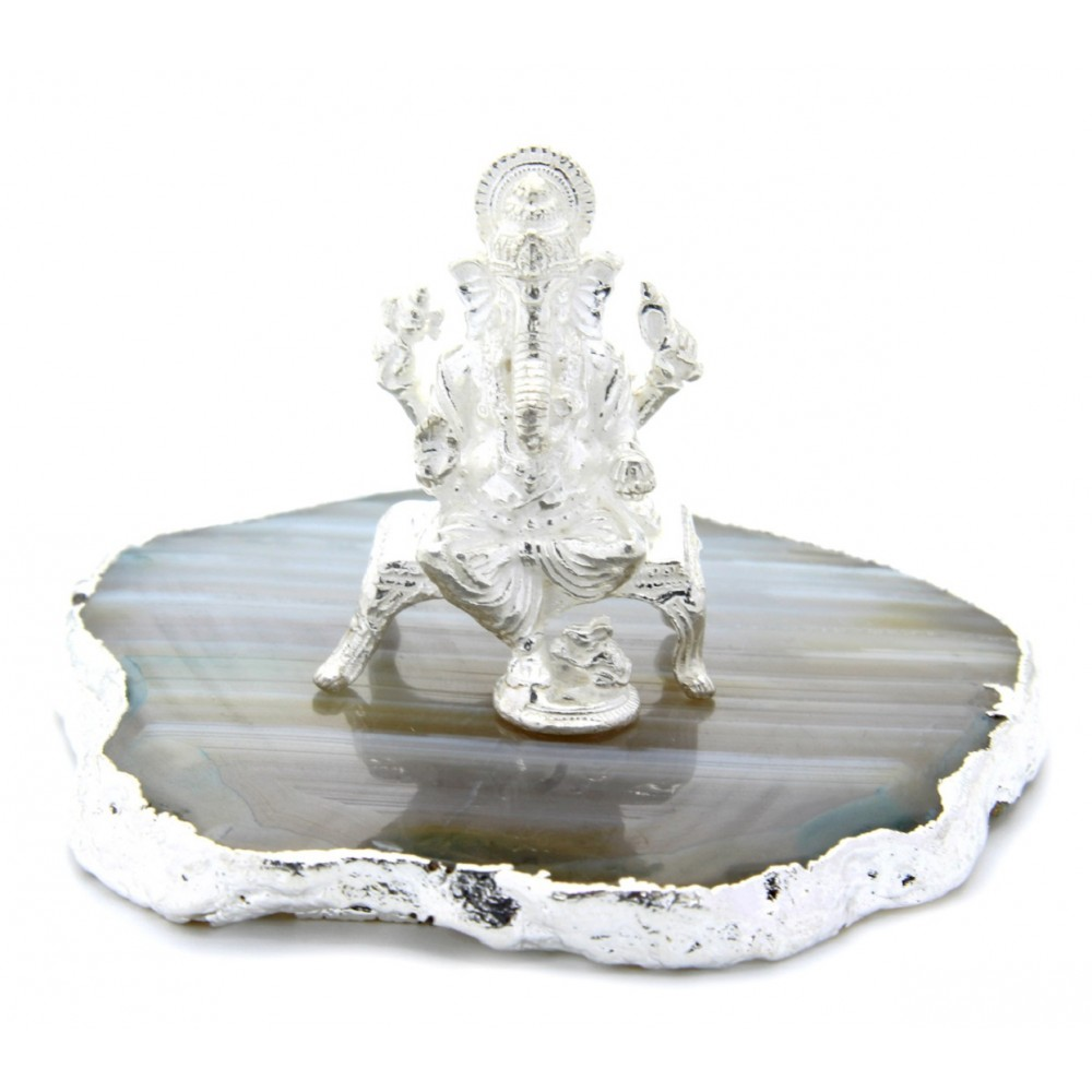 16 gm White Leg Down Lord Ganesha Idol/Murti