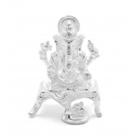 White Leg Down Lord Ganesha Idol