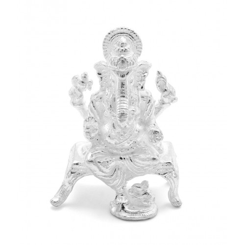 White Leg Down Lord Ganesha Idol