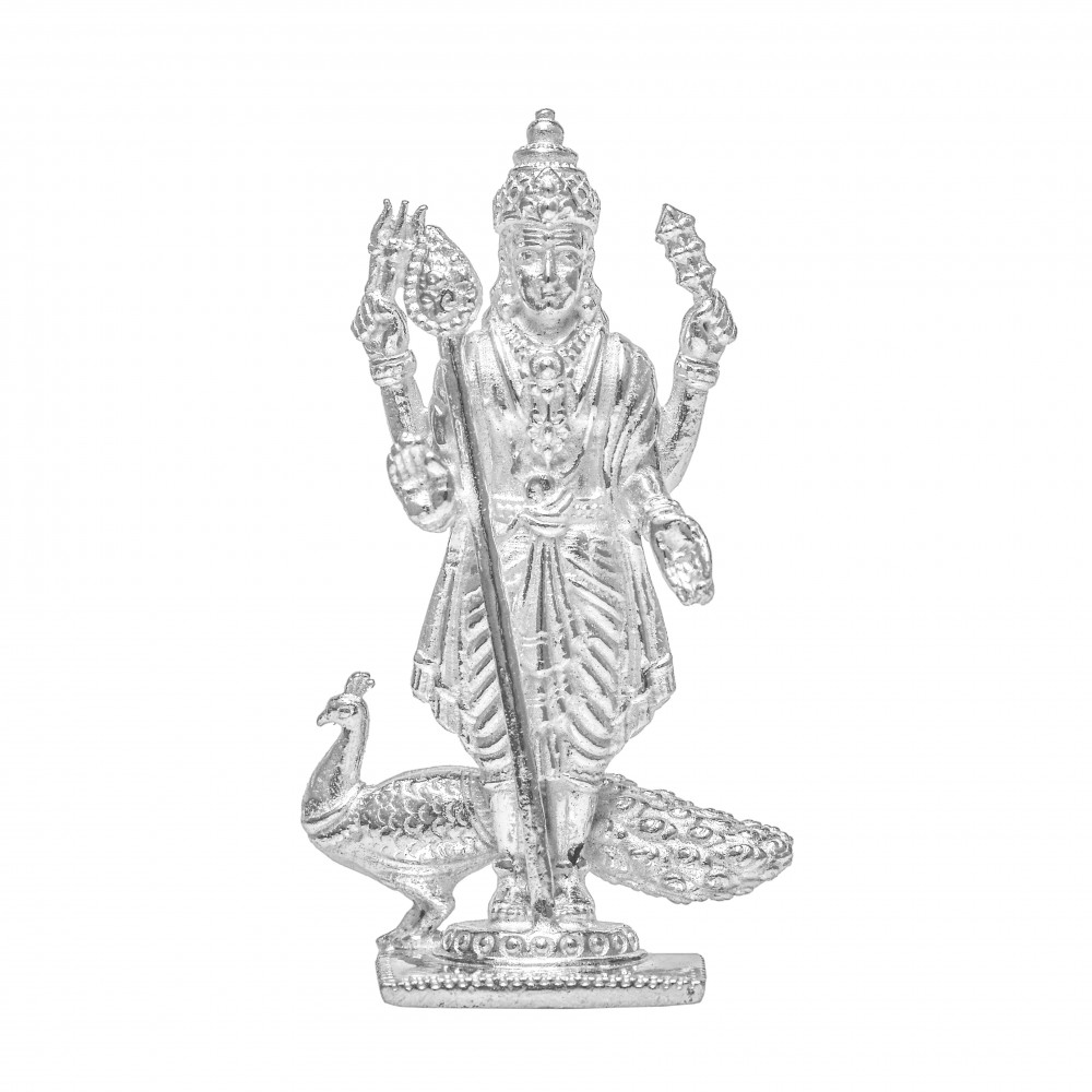 Religious Silver Kartikeya Ji Idol