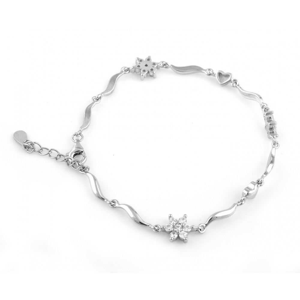 Two Flower Attached Bracelet With Curved line