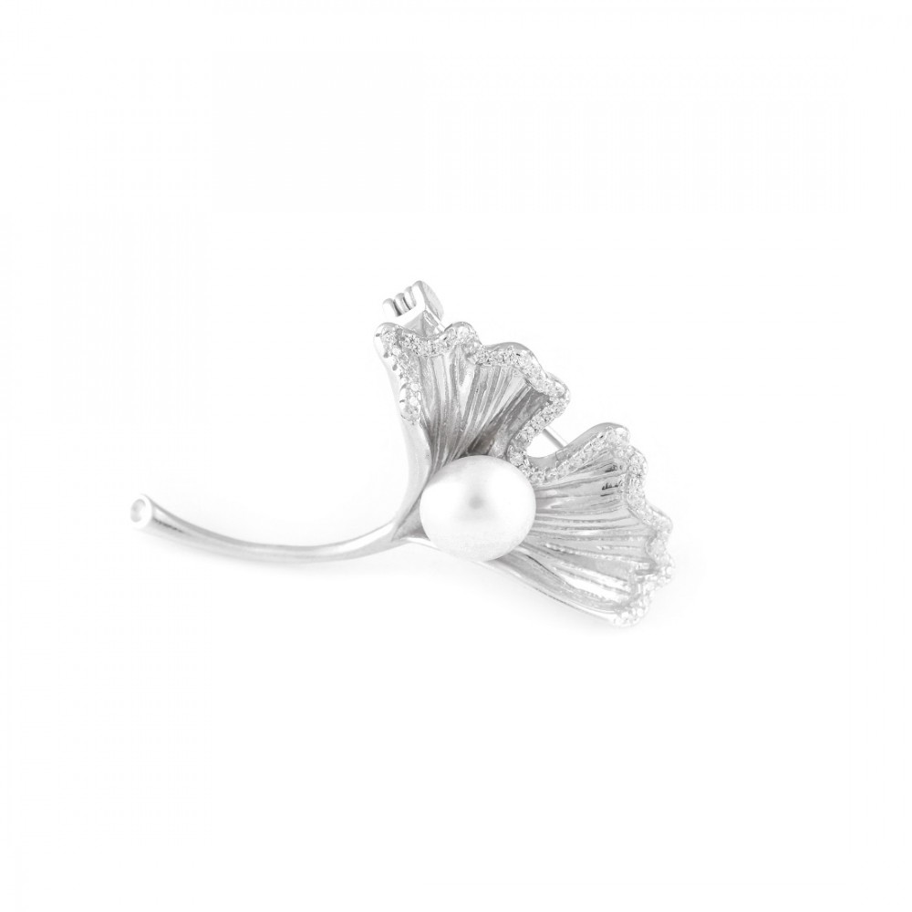 Half Studded Flower Brooch With Silver Pearl