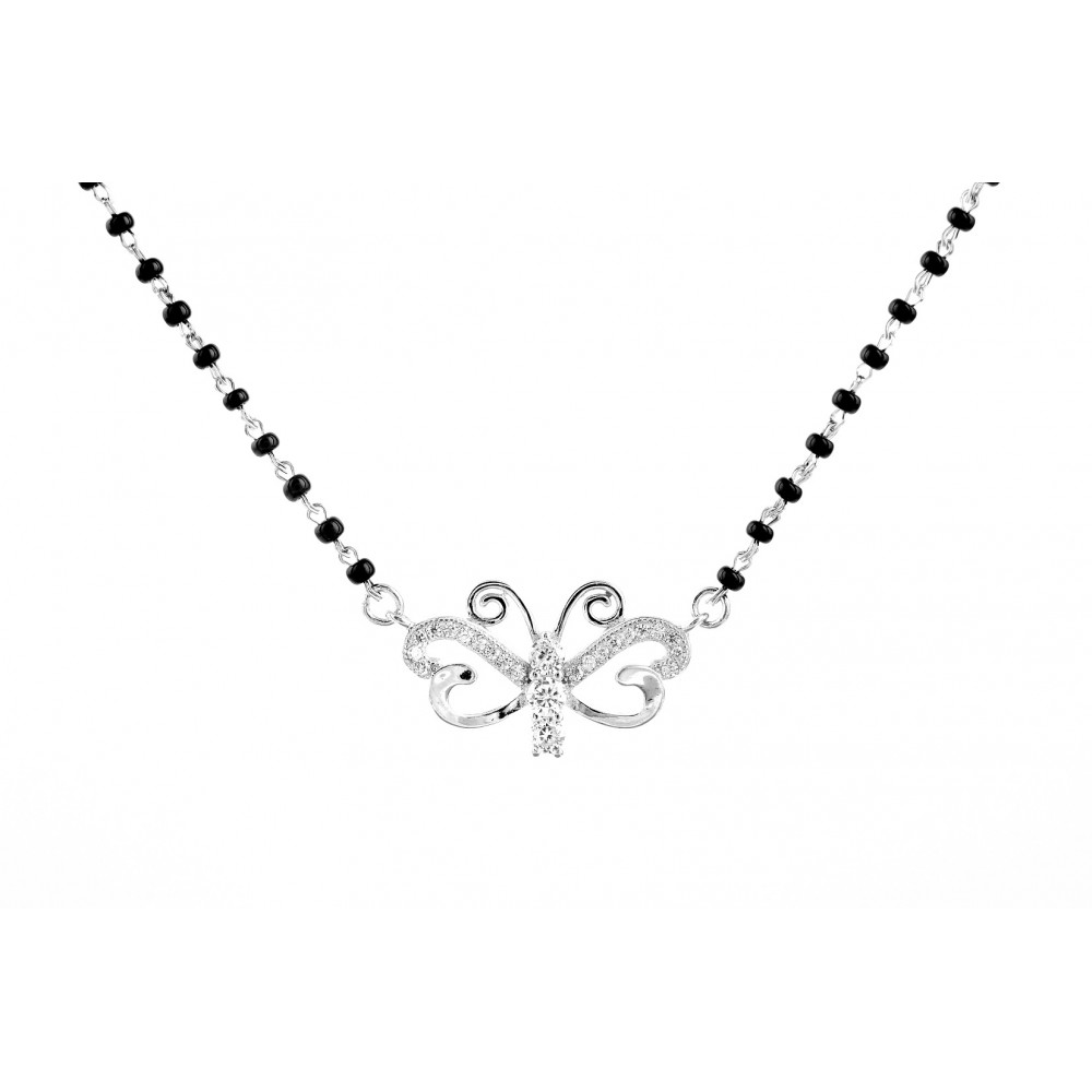Butterfly Design Mangalsutra Pendant Set With Earrings