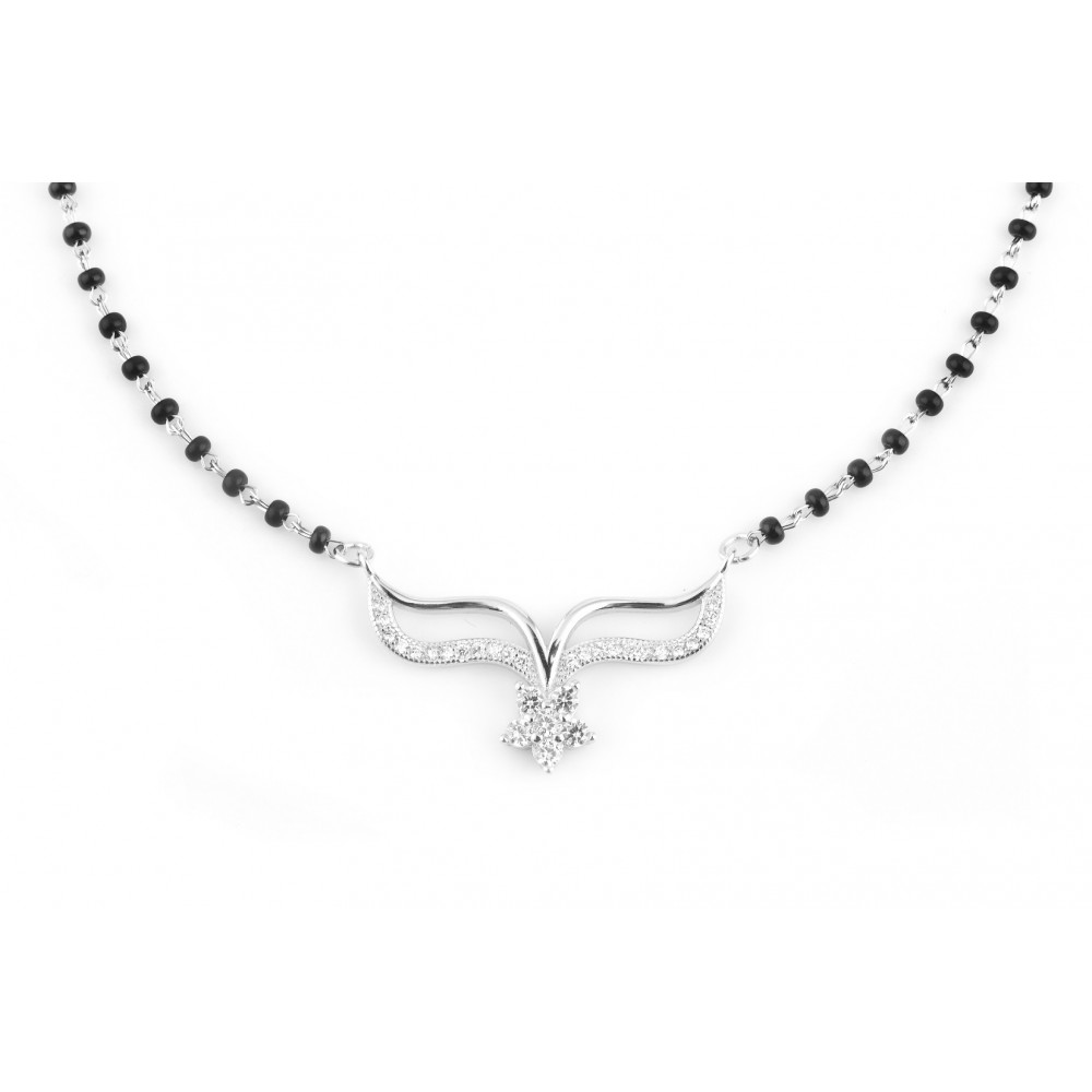 Studded Plain V Shape Mangalsutra Pendant Set With Flower In Centre