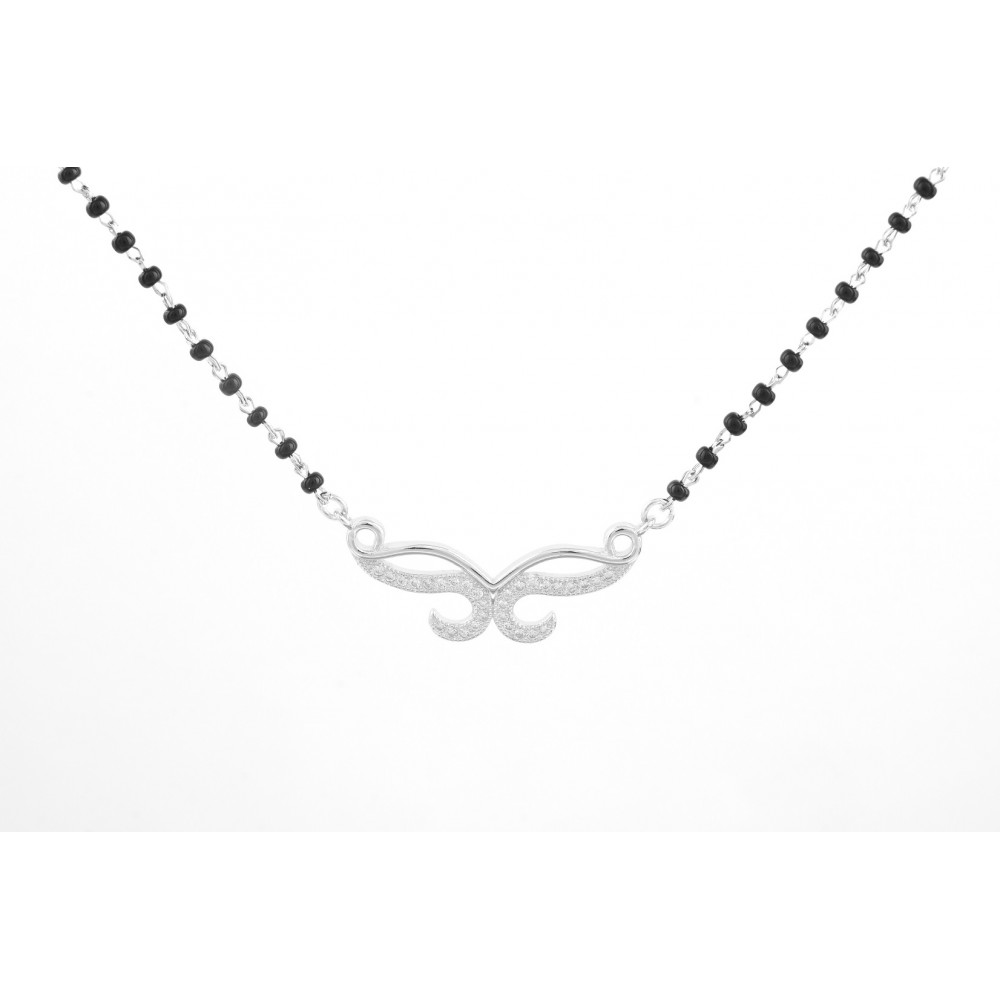 Two Line Studded V Shape Mangalsutra Pendant Set