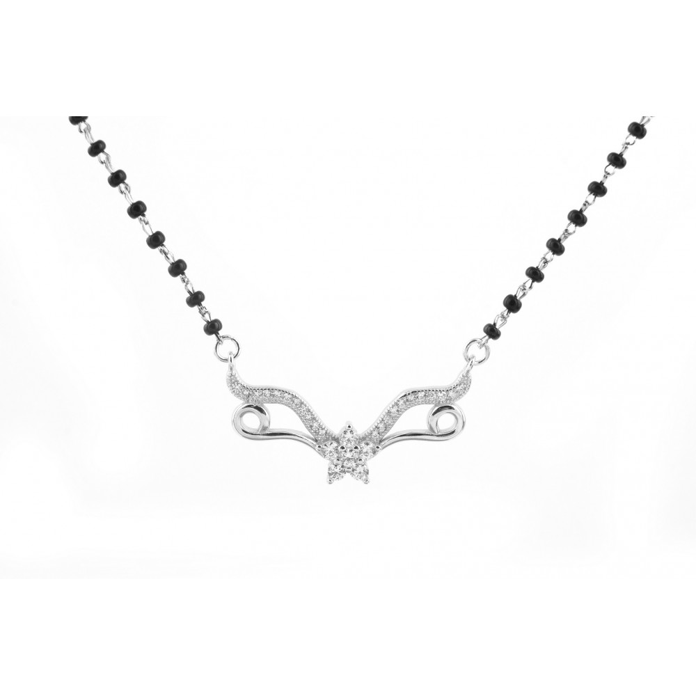 Flower Attached V Shape Line Mangalsutra  Pendant Set