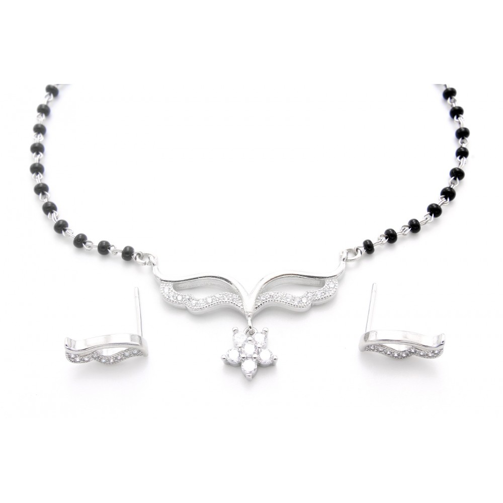 Flower Design Mangalsutra With Earrings