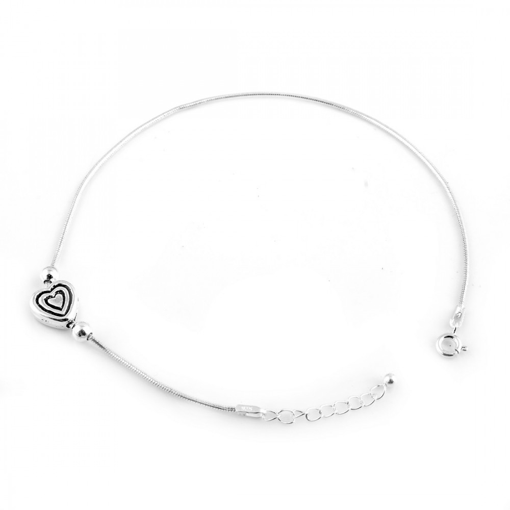 Anklet Pair With One Heart And Two Black Line