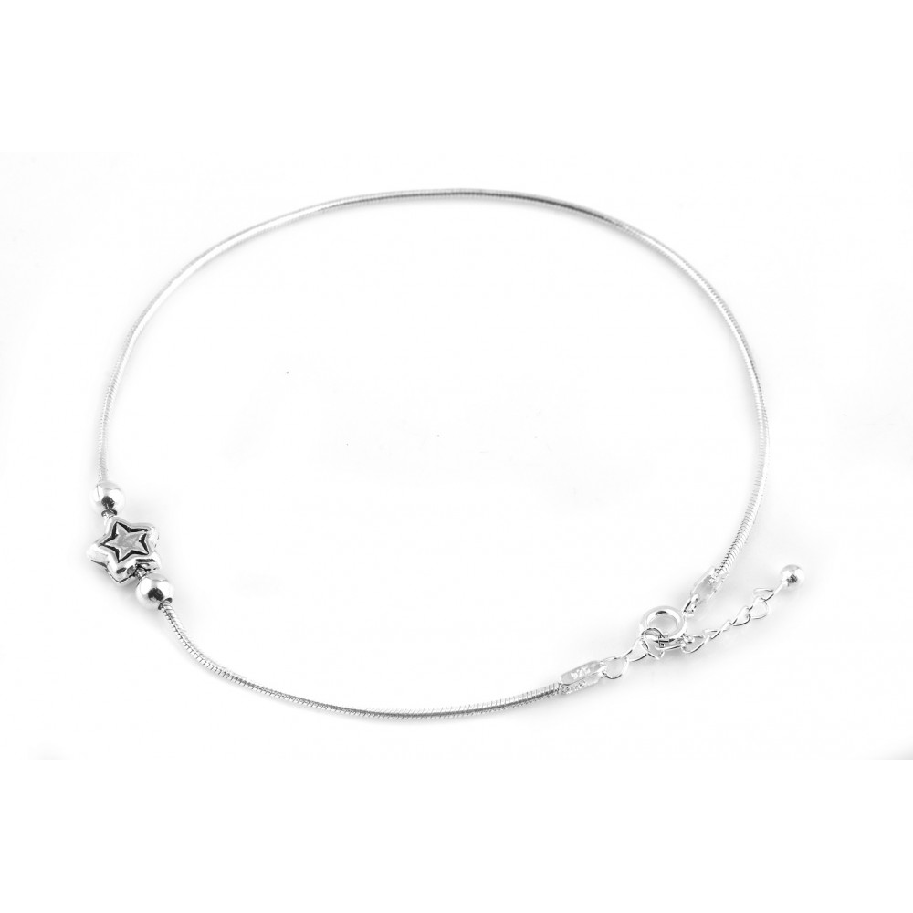 Star Silver Anklet Pair With Plain Bead
