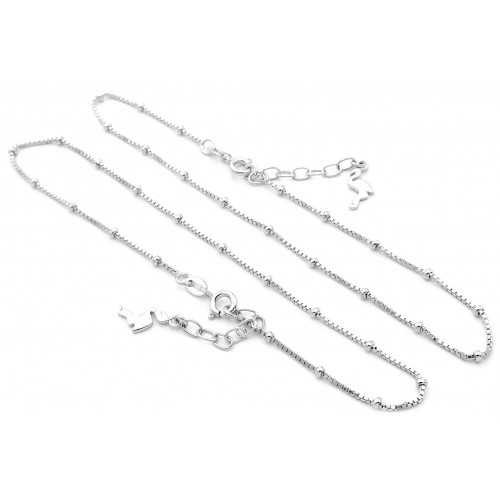 Small Bead Design Silver Anklet