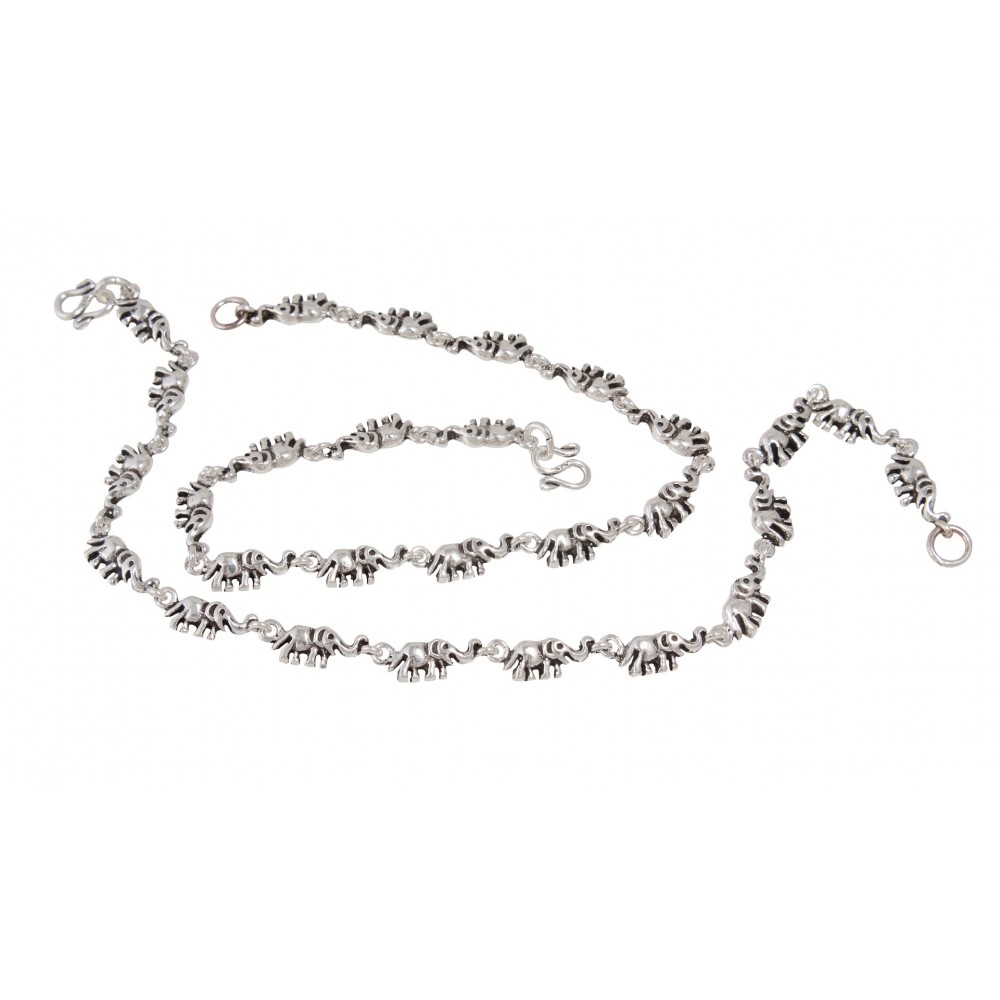 Elephant Silver Anklet