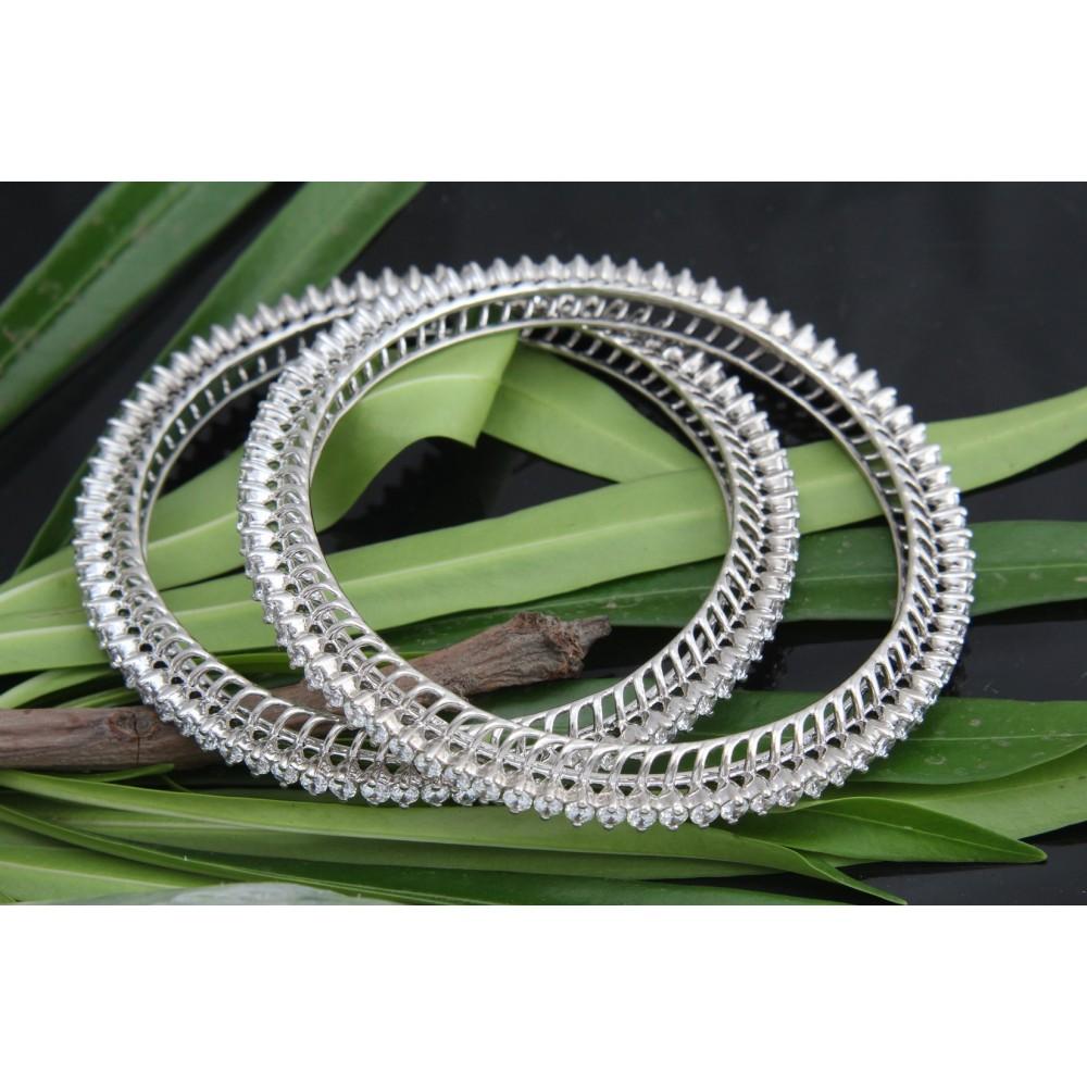 Swarovski Studded Sterling Silver Designer Bangles
