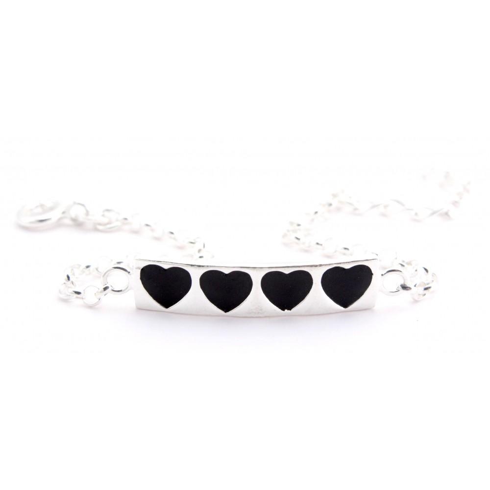Designer Black Hearts Bracelet