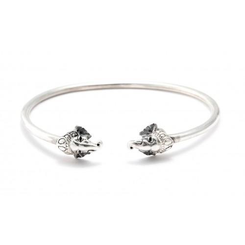 Lord Ganesha Silver Cuff Bracelet