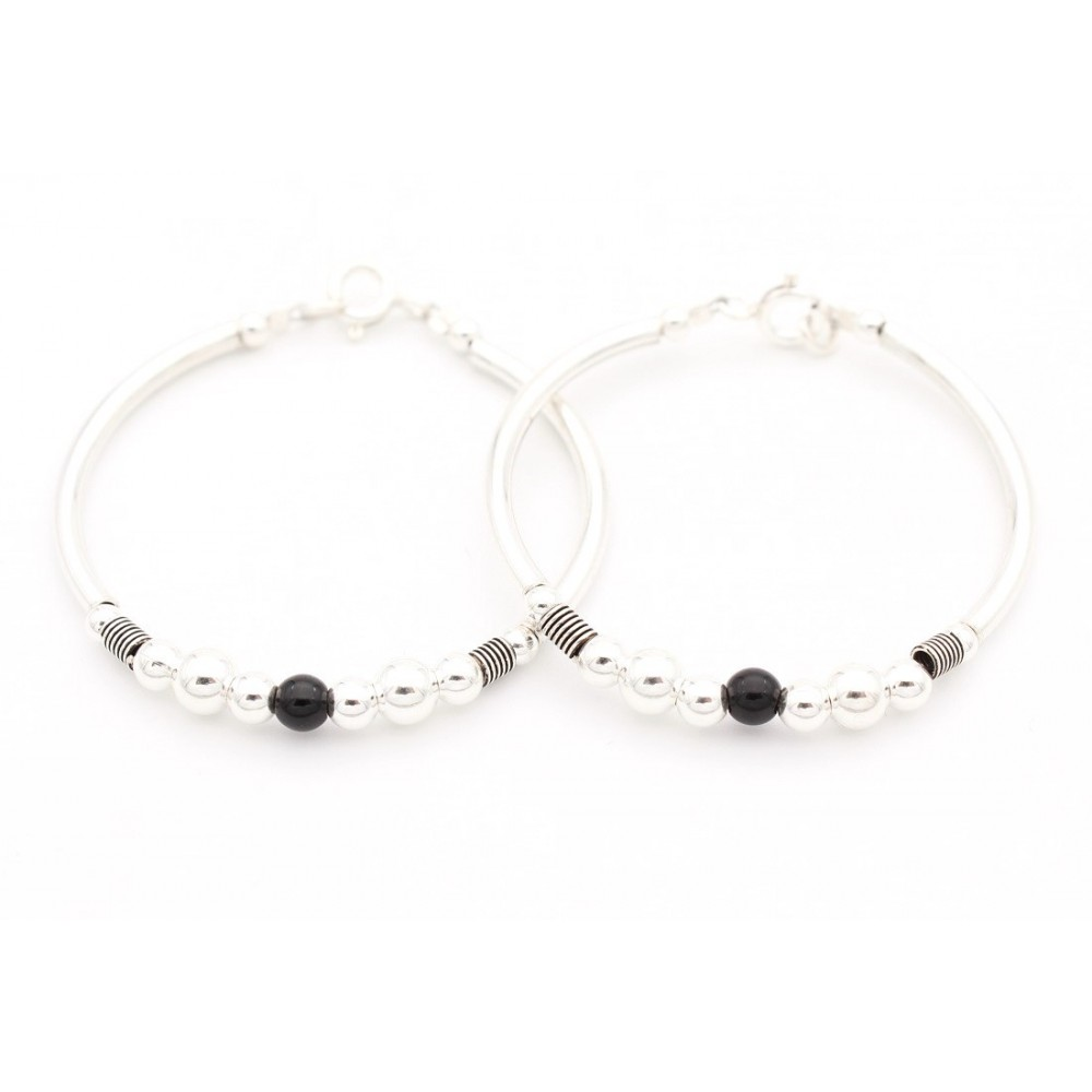 Six silver One Black Bead with Oxidized Rings Baby Bracelet
