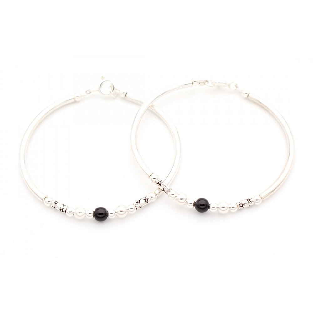 Six Silver One Black Bead with Star Cylinder Baby Bracelet