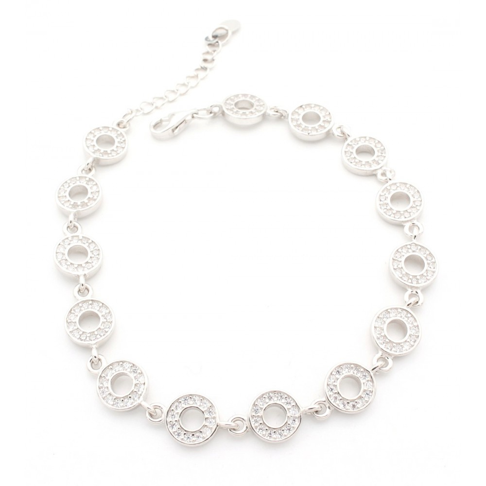 CZ Studded Hollow Circle Attached In Chain Bracelet