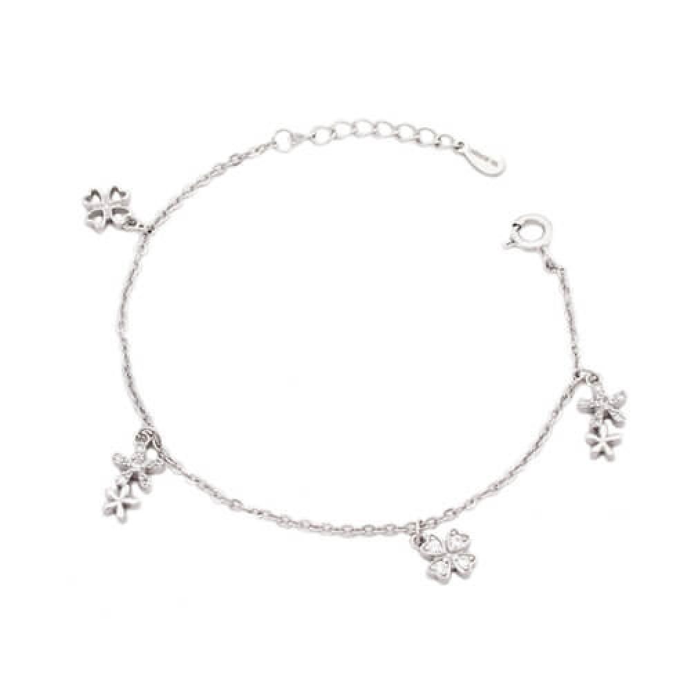 Hanging Flower In Chain Bracelet