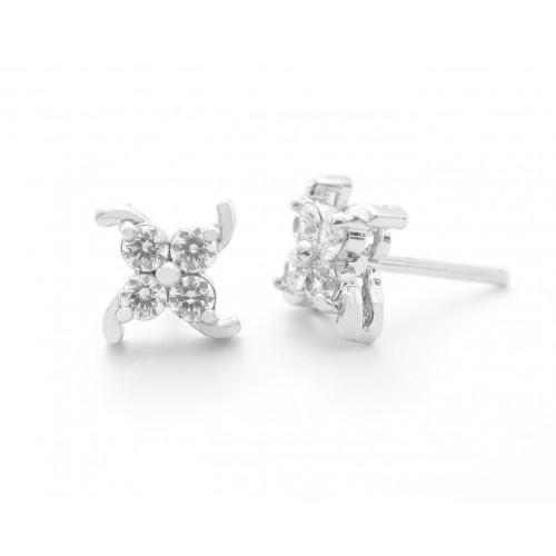 4 Swarovski Stone Studded Flower Design Studs Earring