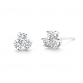 3 Swarovski Stone Studded Flower Design Studs Earring