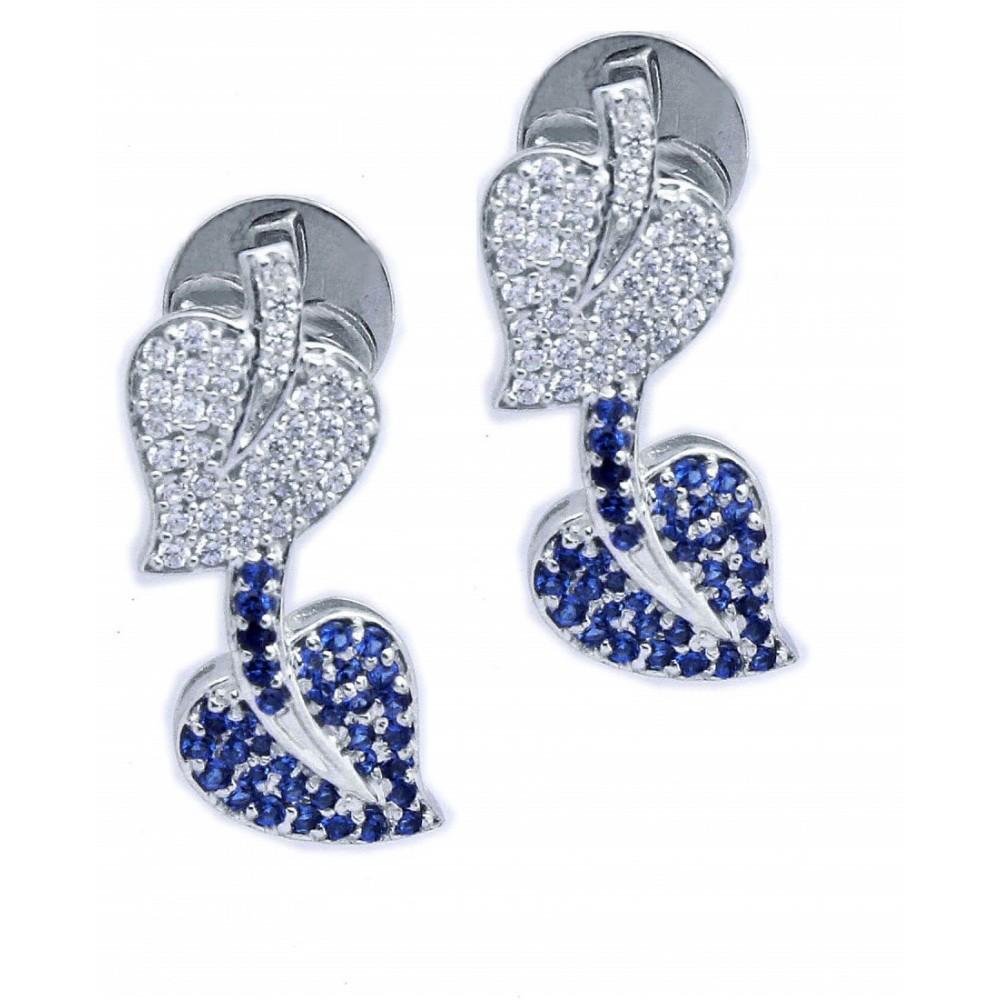 Blue & Silver Swarovski Stoned Silver Earring