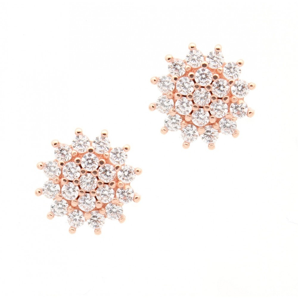 Rose Gold Round Studded Earring Studs