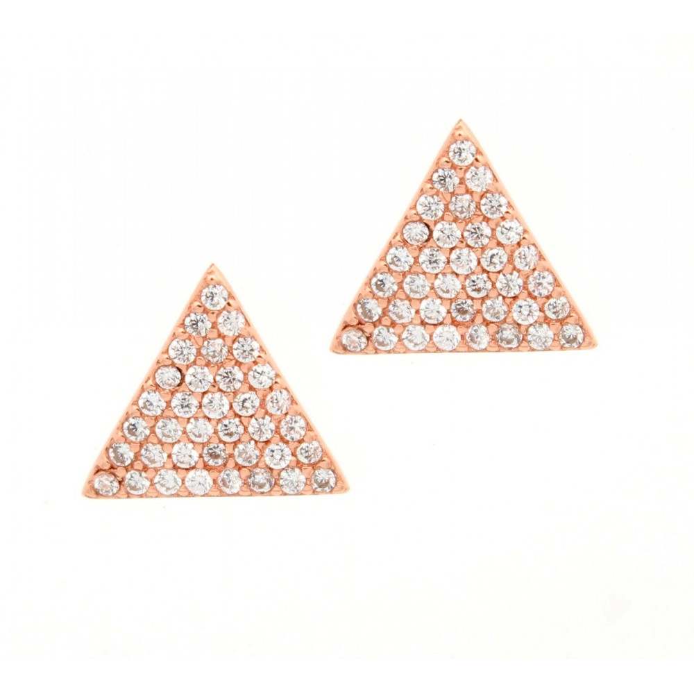 Rose Gold Triangle Studded Earring Studs