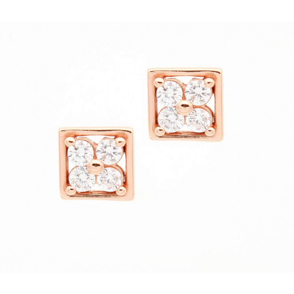 Rose Gold  Four Stone Flower Studs
