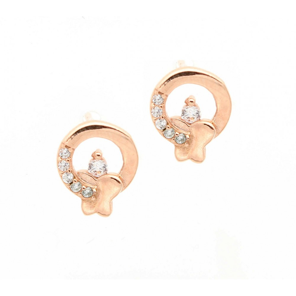 ROSE GOLD	Circle with Butterfly Studs