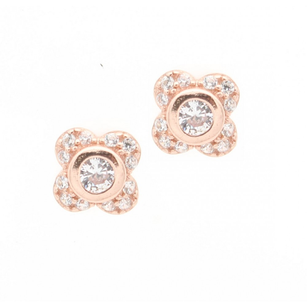 ROSE GOLD	Four Leaf Flower Earring Studs
