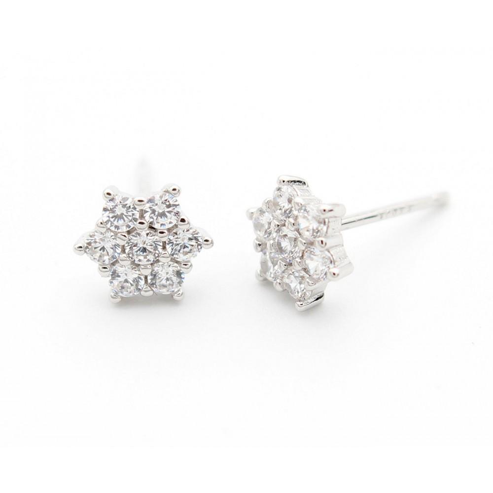 SILVER Hxagonal Studded Earring