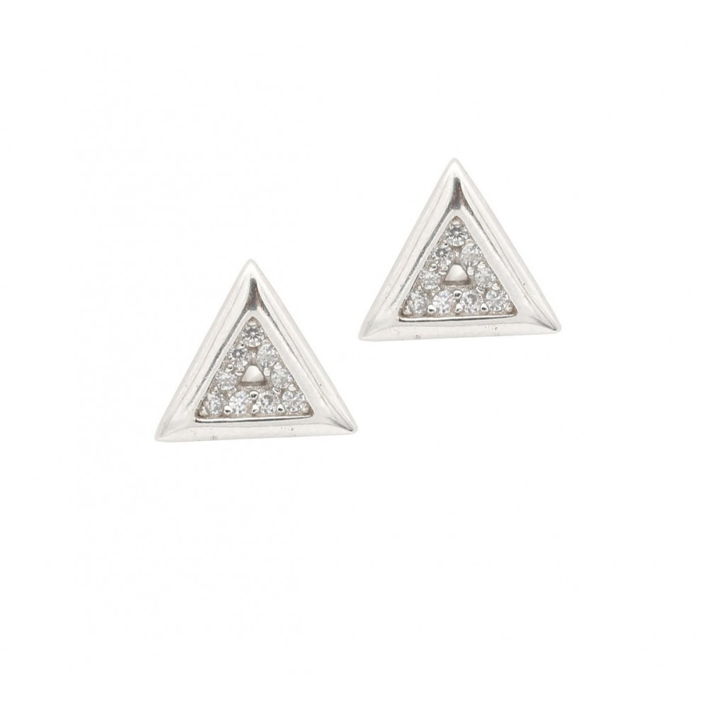 SILVER Hollow Triangle Studded Three Inner Side Earring