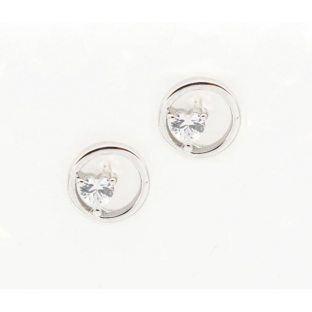 Heart in a Hollow Circle Earring Studs