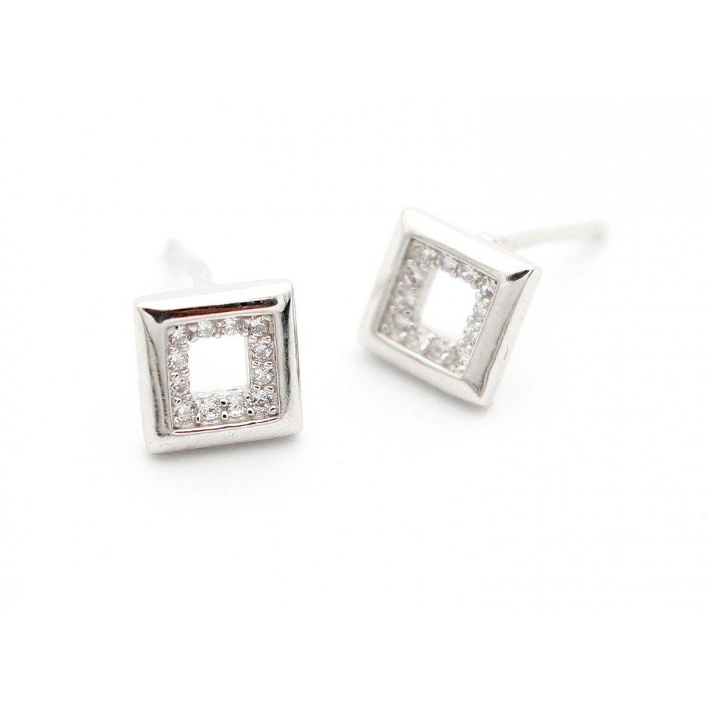 Hollow Square Studded Inside Earring