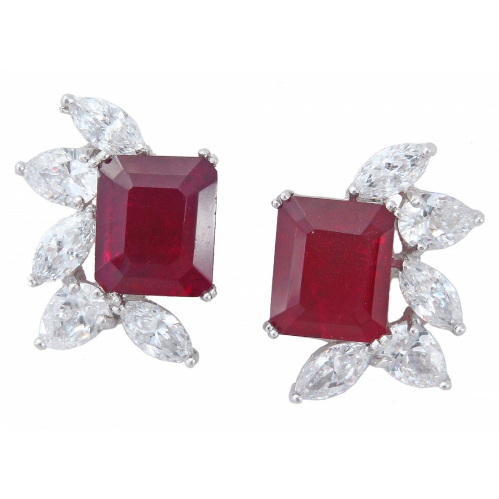 Red Emerald Pear studs