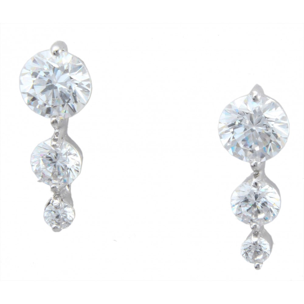 Three Stones Swarovski Earrings