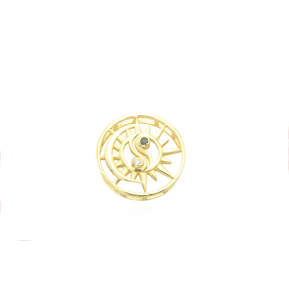Gold Plated Sun-Moon Ying Yang Pendant without chain