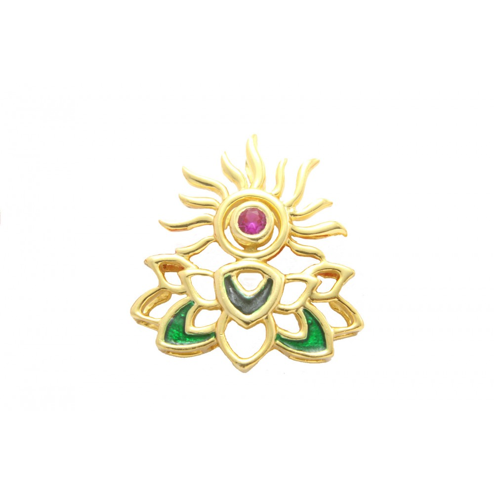 Gold Plated Sun Lotus Pendant without chain