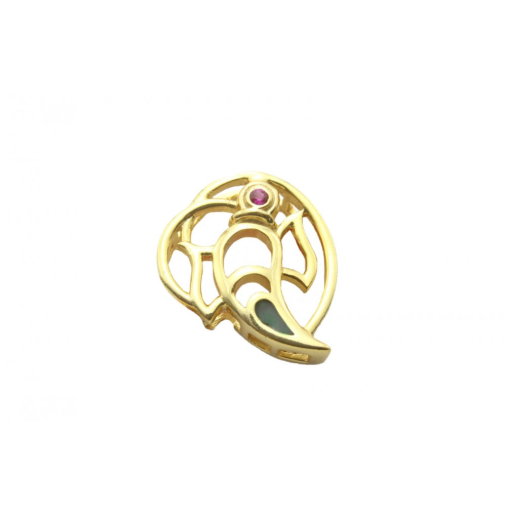 Gold Plated Ganesha Pendant without chain