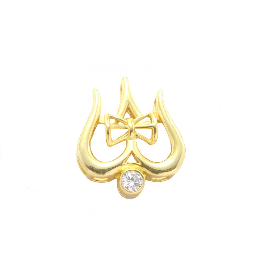 Gold Plated Lord Shiva Trishul Damru Pendant without chain