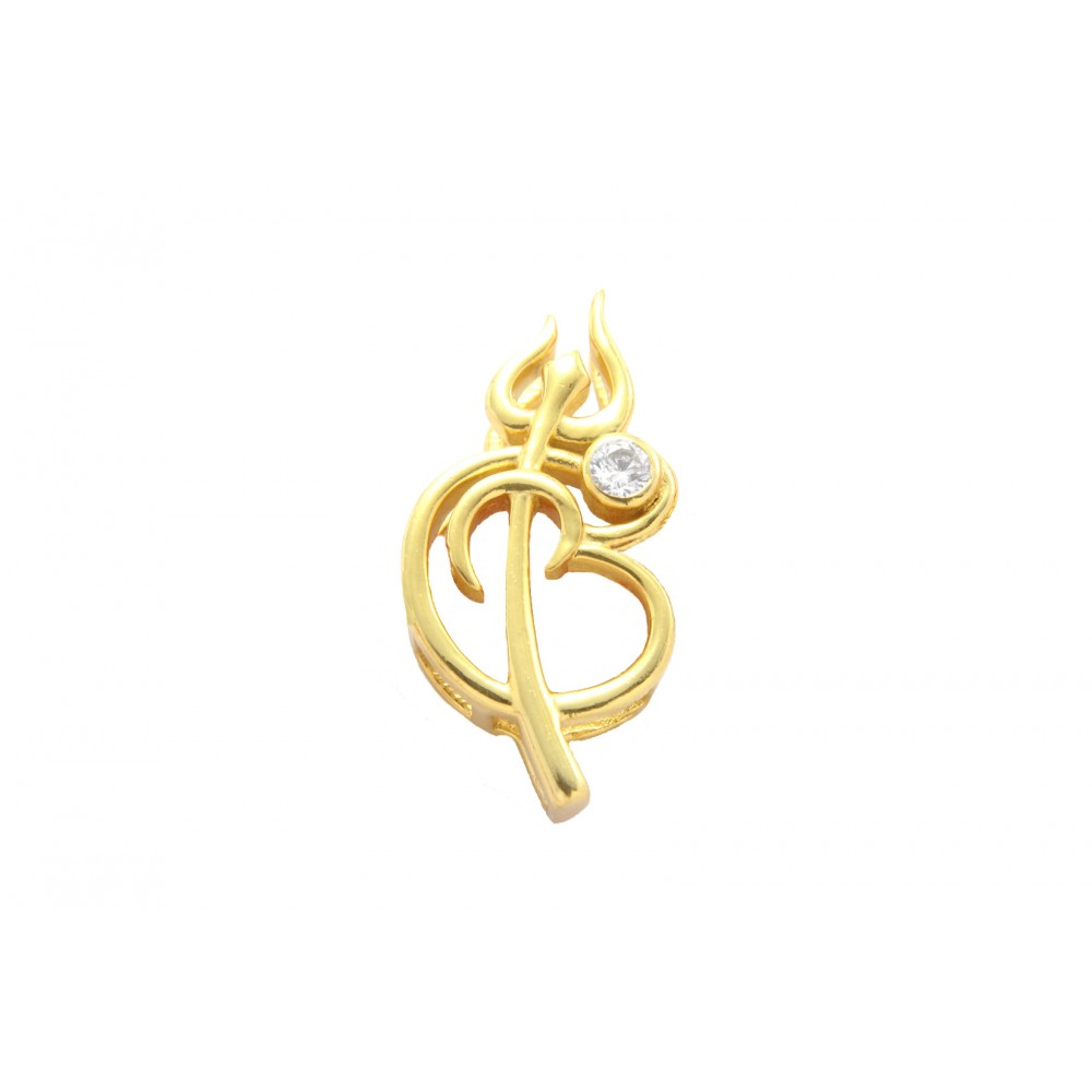 Gold Plated Om Trishul Pendant without chain
