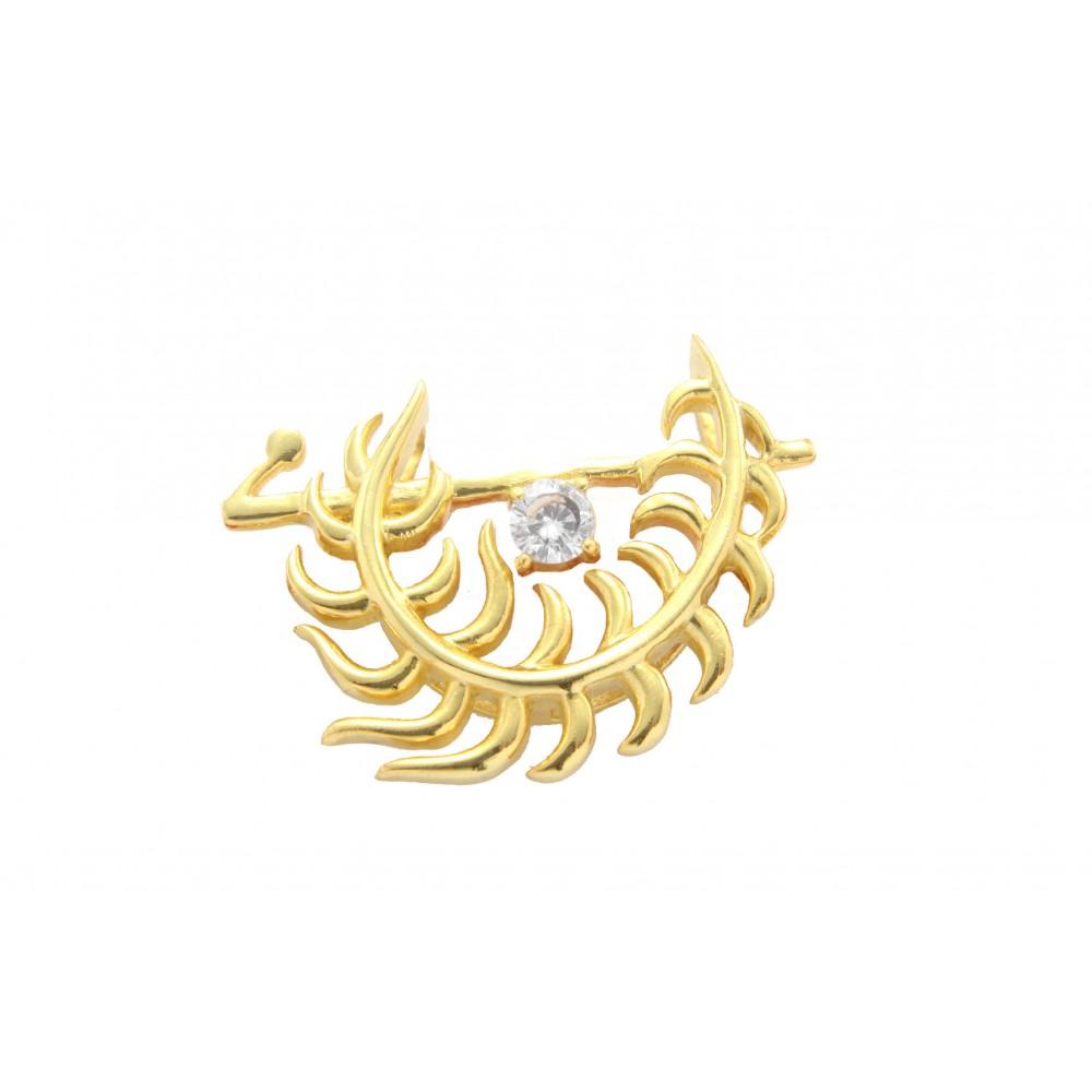 Gold Plated Pankh Bansuri Pendant without chain