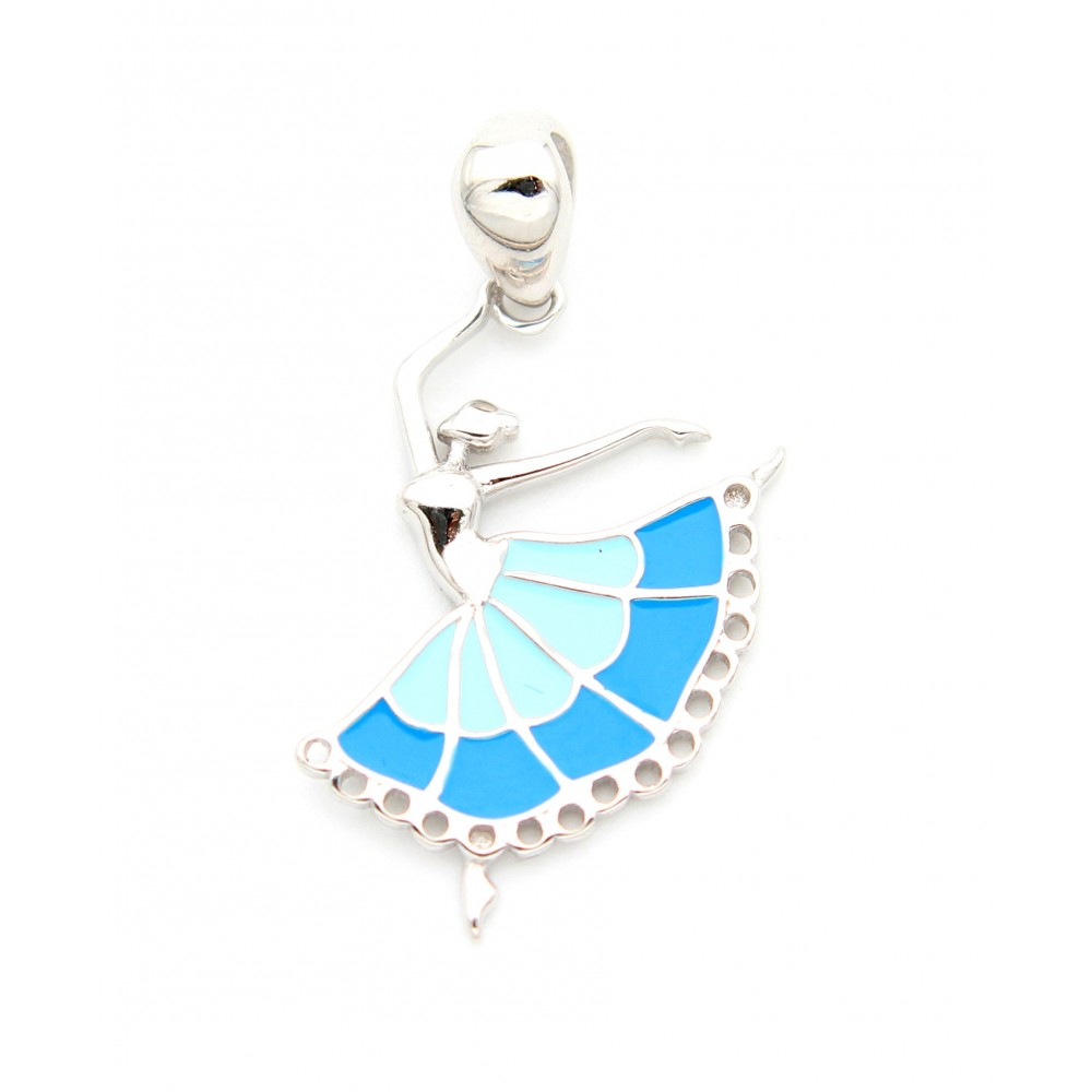 Designer Dancing Doll in Blue frock Pendant